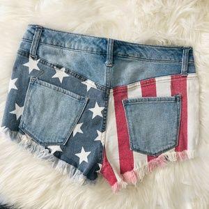NWOT Mossimo | American Flag Denim Cut Off Shorts